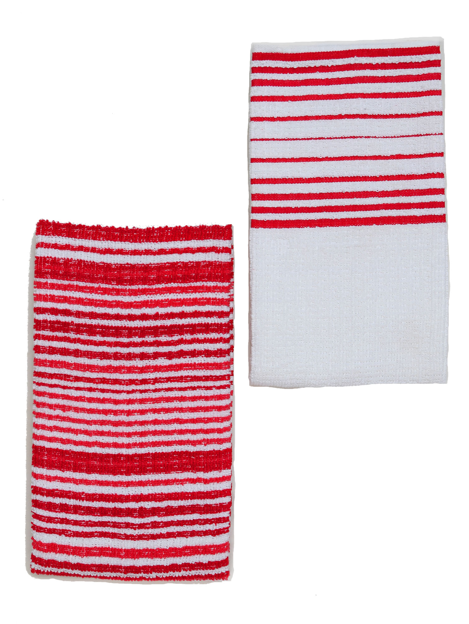 Kuku0027s Cuisine Kitchen Towels (Set Of Two) Stripe Pattern U2013 Red U0026 White